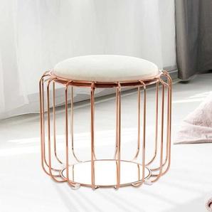 Sitzhocker in Beige Samt Kupferfarben Metall