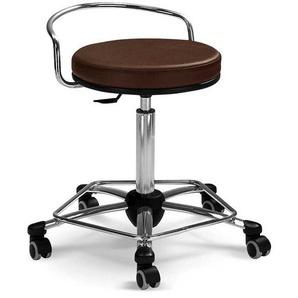 Sitzhocker in Braun Kunstleder drehbar