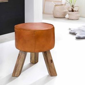 Sitzhocker in Braun Leder Holzbeine