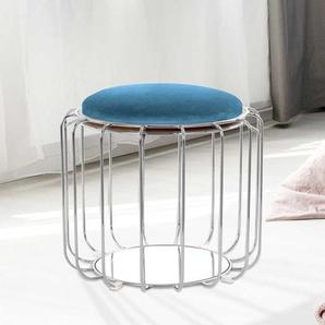 Sitzhocker in Petrol und Silberfarben wendbarer Sitzfläche