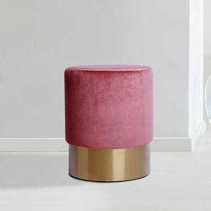 Sitzhocker in Rosa Samt und Goldfarben Kunststoff rund