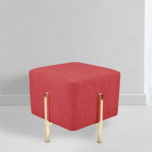 Sitzhocker in Rot Kunstleder Goldfarben Metall