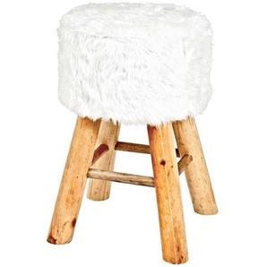 Sitzhocker in Weiß Kunstfell