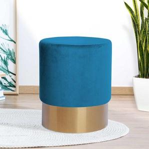 Sitzhocker Pouf in Blau und Goldfarben Samt