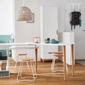Sitzhocker - weiß - Massivholz -