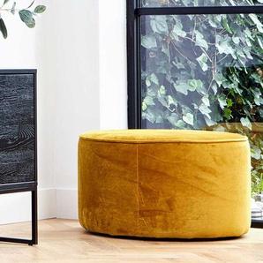 Sitzpouf in Gelb Samt Webstoff modern