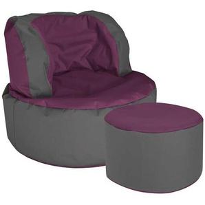Sitzsack Sessel in Violett Grau