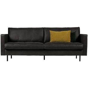 Sitzsofa in Schwarz Recyclingleder 230 cm breit