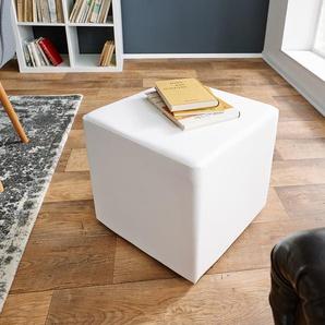 Sitzwürfel Dado 45x45 cm Weiss klassischer Sitzhocker, Sitzhocker / Sitzwürfel