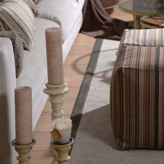 Sitzwürfel »Inca«, 1x 40x40 cm, allergikergeeignet, beige, H.O.C.K., gestreift, Motiv, mit abnehmbarem Bezug