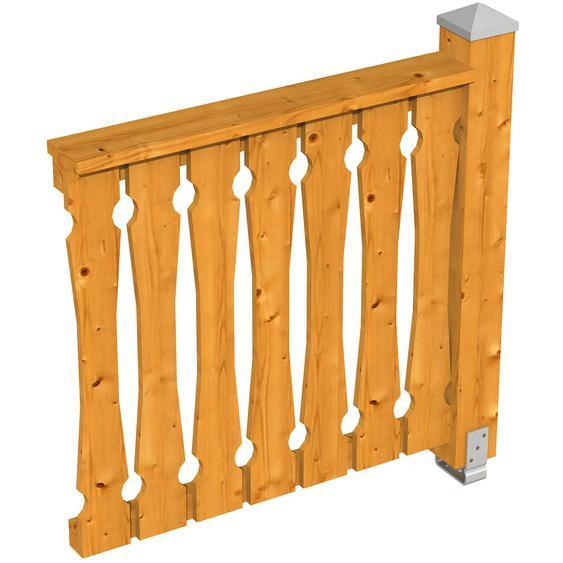 Skan Holz Brüstung Balkonschalung 108 x 96 cm Fichte Eiche hell