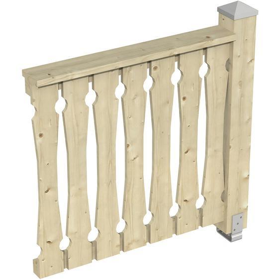 Skan Holz Brüstung Balkonschalung 108 x 96 cm Fichte Natur