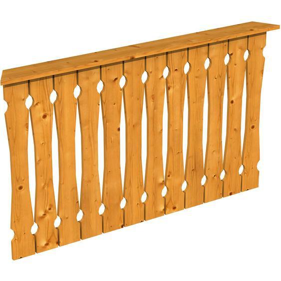 Skan Holz Brüstung Balkonschalung 150 x 96 cm Fichte Eiche hell