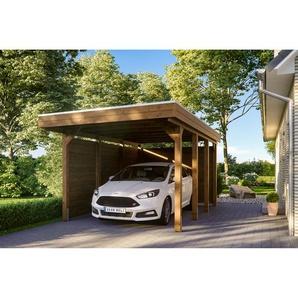 SKANHOLZ Carport Friesland Set 1 m. Rück- und Seitenwand 314 x 555 cm nussbaum
