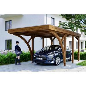 SKANHOLZ Carport Friesland Set 6 mit 2 Einfahrtsbögen 314 x 555 cm nussbaum