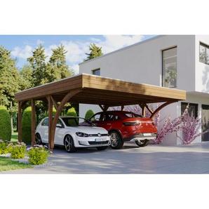 SKANHOLZ Carport Friesland Set 8 mit 2 Einfahrtsbögen 557 x 555 cm nussbaum