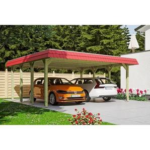 SKANHOLZ Carport Spreewald rote Blende  585 x 589 cm imprägniert