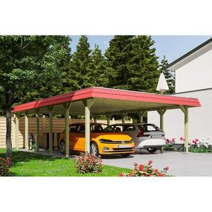 SKANHOLZ Carport Spreewald rote Blende  585 x 893 cm imprägniert