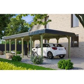 SKANHOLZ Carport Spreewald schwarze Blende  396 x 893 cm imprägniert