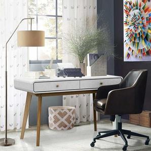 Skandi Design Schreibtisch in Wei� und Holz Naturfarben 120 cm breit