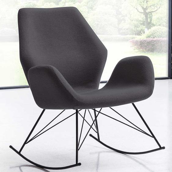 Skandi Design Sessel in Dunkelgrau Webstoff Schaukelfunktion