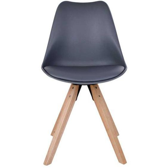 Skandi Design Stühle in Grau Kunststoff Massivholzgestell (2er Set)