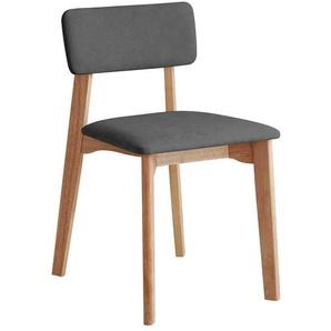 Skandi Design Stühle in Anthrazit Webstoff Massivholzgestell