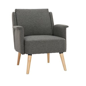 Skandinavischer Sessel dunkelgrau und Holz AEOLA