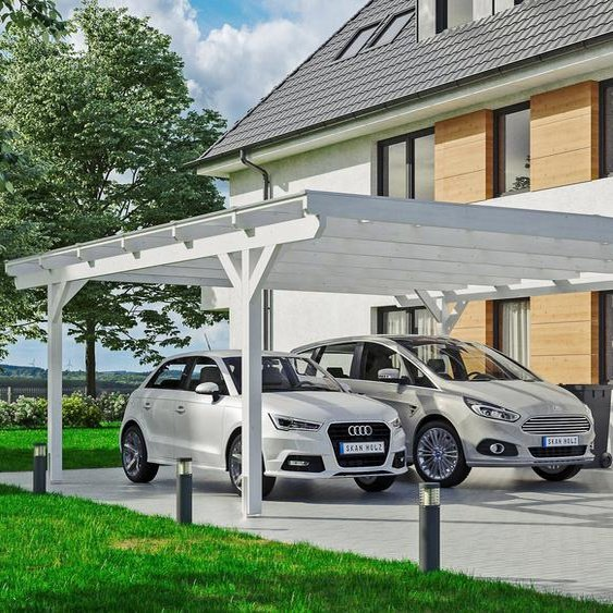 Auto-Unterstand »Odenwald«, Skanholz, weiß, Material Fichtenholz