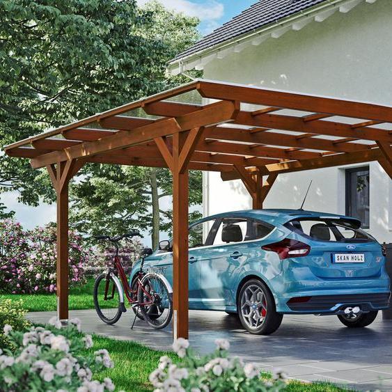 Carport »Odenwald«, Skanholz, braun, Material Fichtenholz
