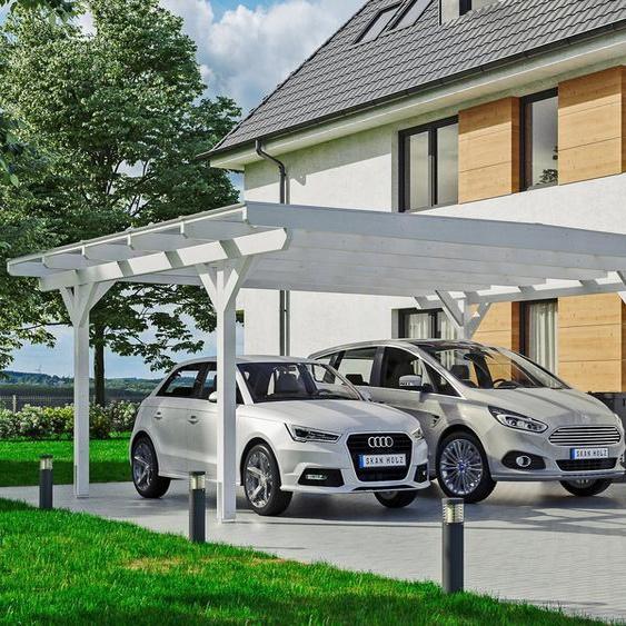 Doppel-Carport »Odenwald«, Skanholz, weiß, Material Fichtenholz