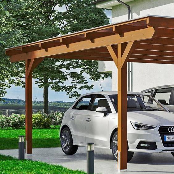 Doppel-Carport »Odenwald«, Skanholz, braun, Material Fichtenholz