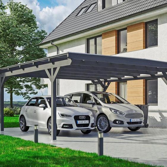 Doppel-Carport »Odenwald«, Skanholz, grau, Material Fichtenholz