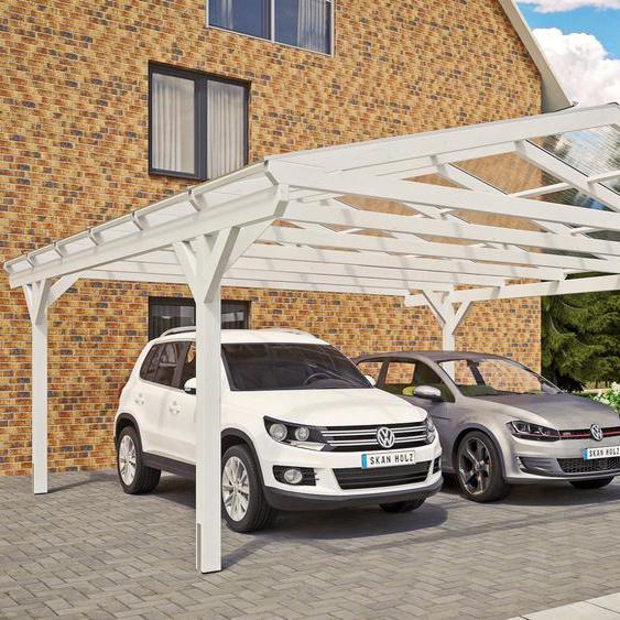 Doppel-Carport »Westerwald«, Skanholz, weiß, Material Fichtenholz