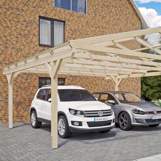 Doppel-Carport »Westerwald«, Skanholz, rot, Material Fichtenholz