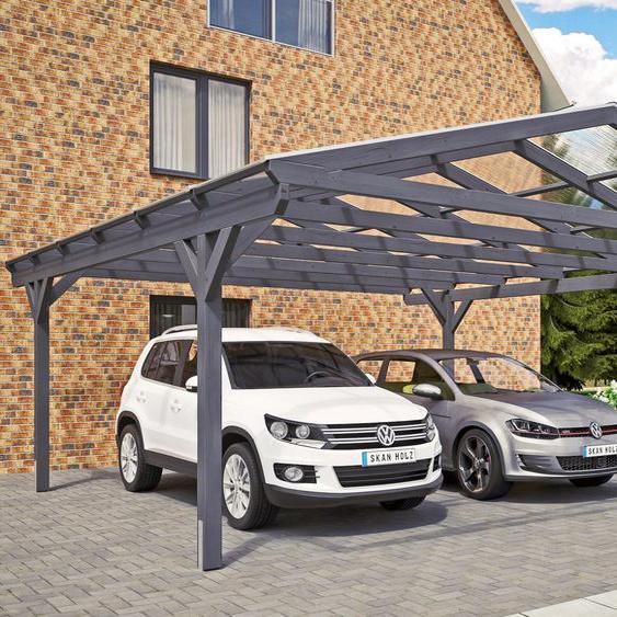Doppel-Carport »Westerwald«, Skanholz, grau, Material Fichtenholz
