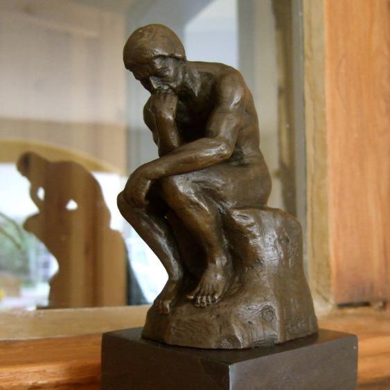 Skulptur Der Denker, original Bronze Figuren hochwertige Schreibtisch Skulpturen