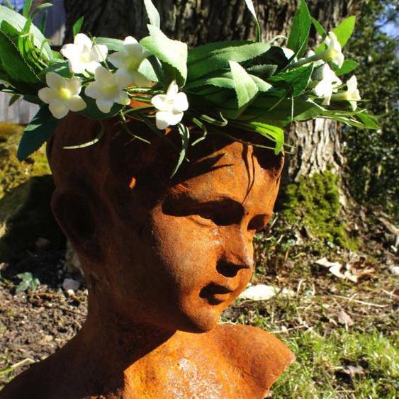 Skulptur, Mädchen Büste, Frauenkopf, Gartenfiguren, Eisen, Rost