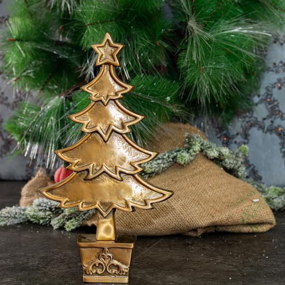 Skulptur, Messing, Weihnachtsbaum, Tischdeko zu Weihnachten, Tannenbaum