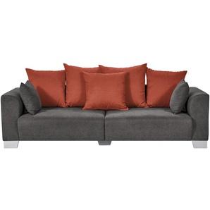smart Big Sofa grau-braun - Flachgewebe Tonja ¦ grau ¦ Maße (cm): B: 244 H: 68 T: 107