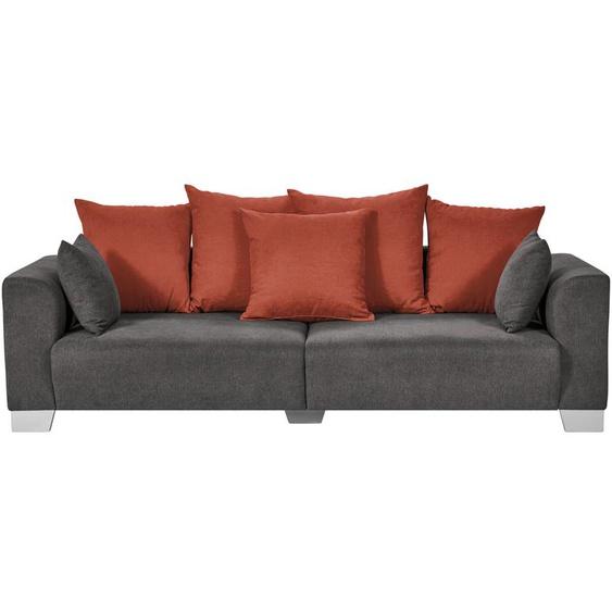 smart Big Sofa grau-braun - Flachgewebe Tonja ¦ grau