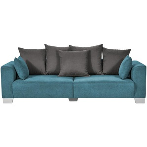 smart Big Sofa petrol - Flachgewebe Tonja ¦ türkis/petrol ¦ Maße (cm): B: 244 H: 68 T: 107