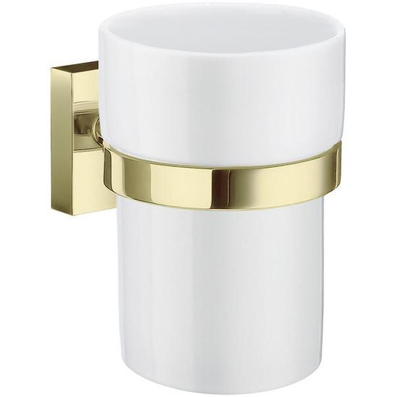 Smedbo Zahnputzbecher , Weiß, Gold , Metall, Keramik , 7.5x9.8x9.3 cm