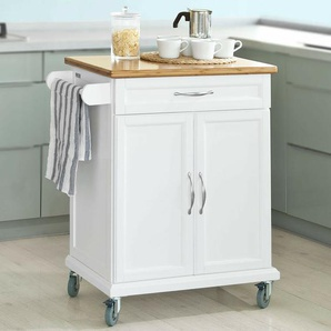 Sobuy® Küchenwagen Aus Mdf Mit Bambus Top, Küchenschrank, Servierwagen