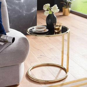 Sofa Anstelltisch mit schwarzer Glasplatte Stahlgestell in Goldfarben