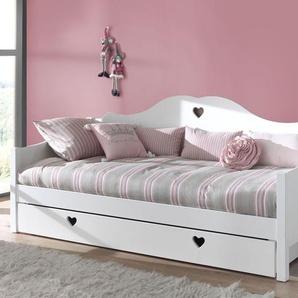 Sofa-Ausziehbett Asami, weiß, 90x200 cm, mit Nachttisch