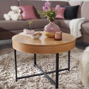 Sofa Beistelltisch Eiche furniert Stauraum