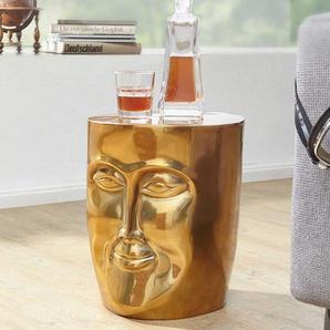 Sofa Beistelltisch in Gesichtsform Aluminium in Goldfarben