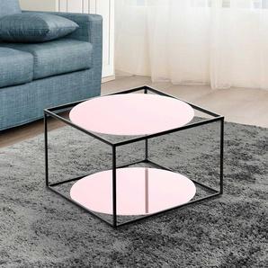 Sofa Beistelltisch in Rosa und Schwarz runder Glasplatte