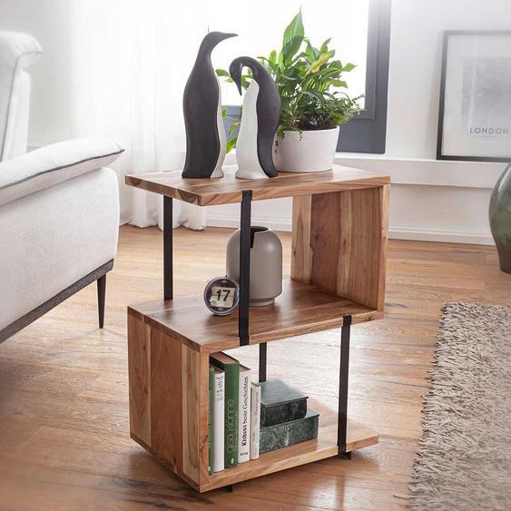 Sofa Beistelltisch in S-Form Akazie Massivholz und Edelstahl
